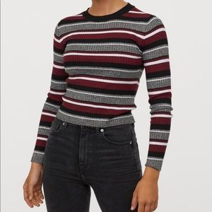 H&M Ribbed Knit Stripped Top